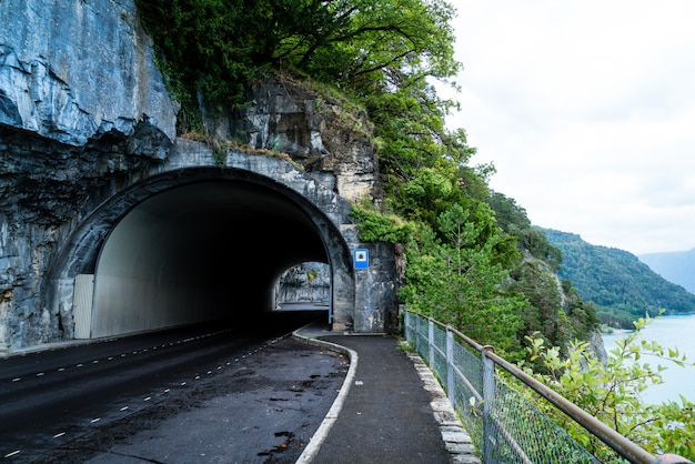 Road with tunnel Premium Photo