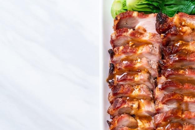 Roast barbecue red pork Premium Photo