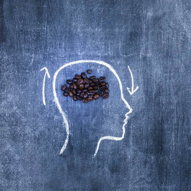 Roasted coffee beans inside the outline face with arrows on chalkboard Free Photo