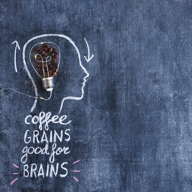 Roasted coffee beans light bulb inside the outline face with written text on chalkboard Free Photo