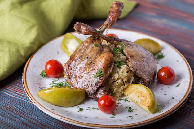 Roasted Duck Leg With Sauerkraut, Apple And Cherry