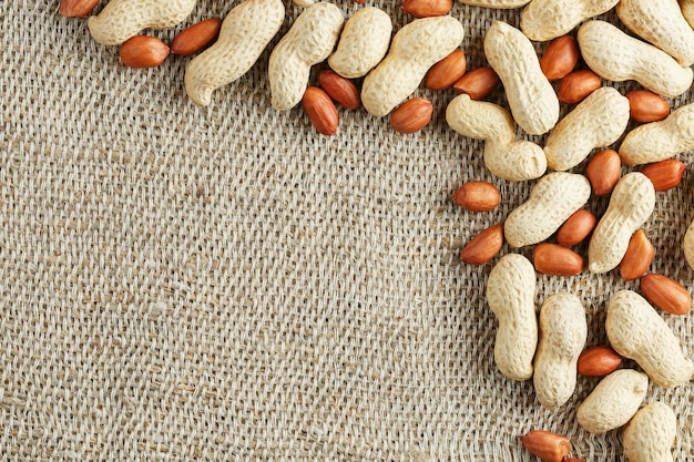 Roasted peanuts in a shell and peeled on a brown fabric . Premium Photo