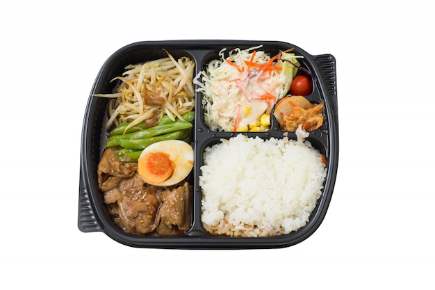 Roasted pork bento - japanese food style Premium Photo