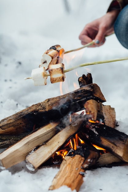 Roasting Marshmallows Over A Campfire Closeup Free Photo