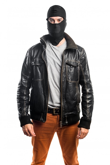 Robber wearing a leather jacket Free Photo