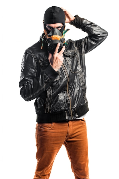 Robber with gas mask Free Photo