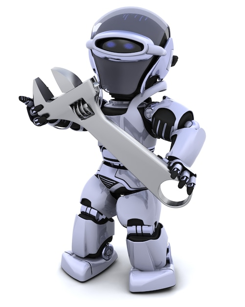 Robot and adjustable wrench Free Photo