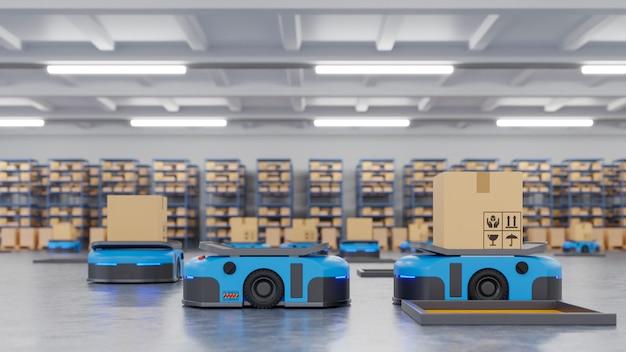Robot agvは自動化を使用して製品を予定どおりに納品しています Premium写真