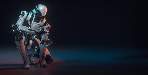Robot  are in the studio room with copyspace Premium Photo
