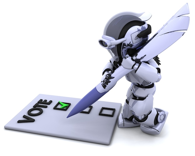 Robot giving his vote Free Photo