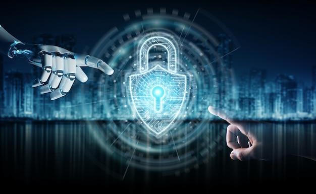 Robot hand and human hand touching digital padlock security Premium Photo