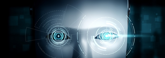 Robot humanoid face close up with graphic concept of ai thinking brain Premium Photo