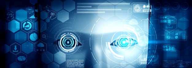 Robot humanoid face close up with graphic concept of big data analytic Premium Photo