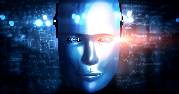 Robot humanoid face close up with graphic concept of engineering science study Premium Photo