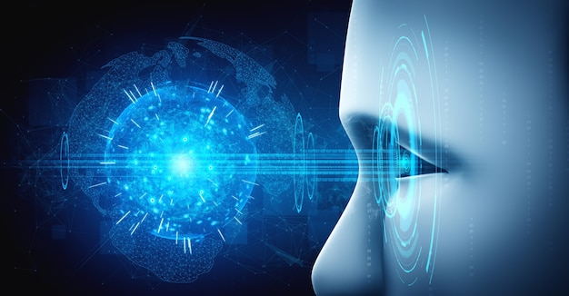 Robot humanoid face close up with graphic concept Premium Photo
