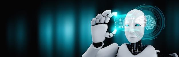 Робот-гуманоид держит экран голограммы hud в концепции искусственного интеллекта Premium Фотографии