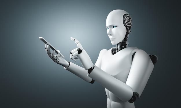 Робот-гуманоид использует мобильный телефон или планшет в будущем офисе Premium Фотографии