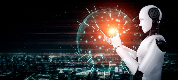 Robot humanoid use mobile phone or tablet for global network connection using ai thinking brain Premium Photo