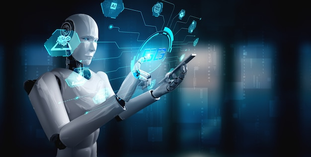 Robot humanoid use mobile phone or tablet for global network connection Premium Photo