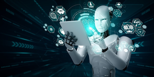 Robot humanoid using tablet computer in concept of ai thinking brain Premium Photo