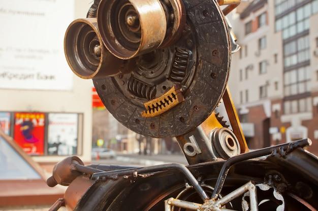 Robot made of rusty metal. close up head of robot. Premium Photo