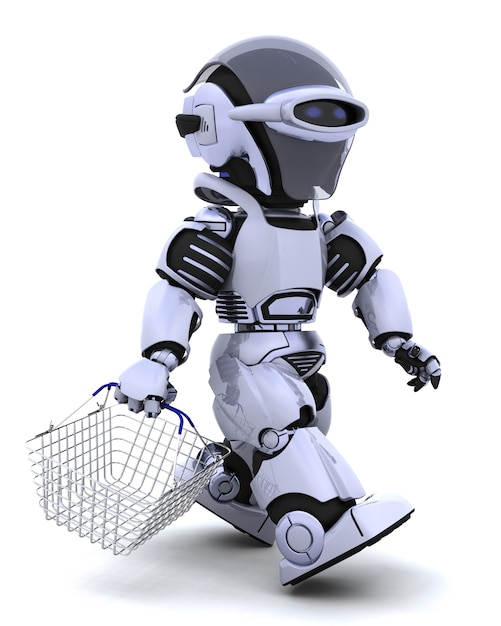 Robot Shopping With A Basket Photo Free Download