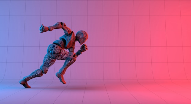Robot wireframe fast run on gradient red violet background Premium Photo