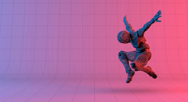Robot wireframe jump on gradient red violet background Premium Photo