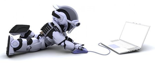 3dは、ノートパソコンとマウスを使ってロボットのレンダリング 無料写真