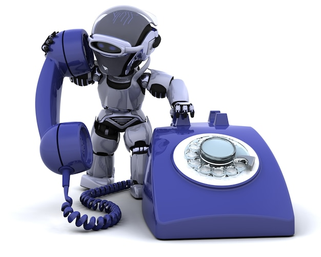 Robot with a phone Free Photo