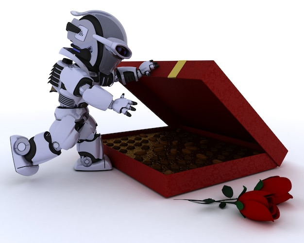 Robot with box of chocolates and red roses for valentine Free Photo