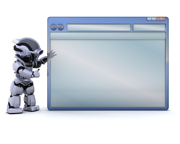 Robot with empty computer window Free Photo