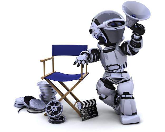 Robot with megaphone and directors chair Free Photo