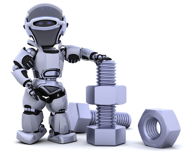 Robot with nuts and bolts Free Photo