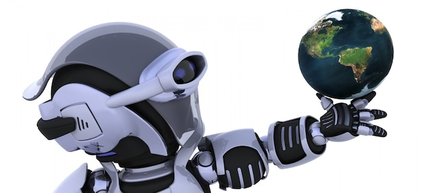 Robot with planet earth Free Photo