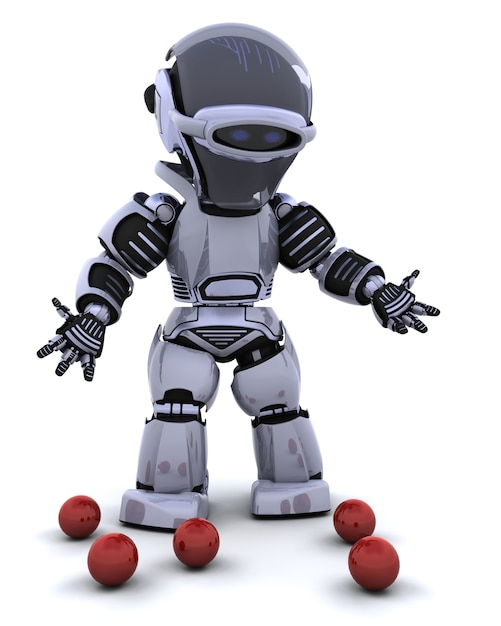 Robot with red balls Free Photo