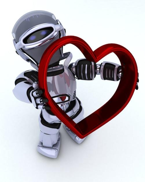 ハートのチャーム付きロボットのレンダリング3d 無料写真