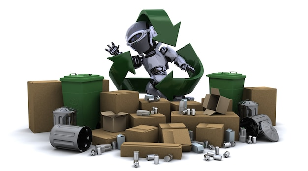 Robot with trash and recycle symbol Free Photo