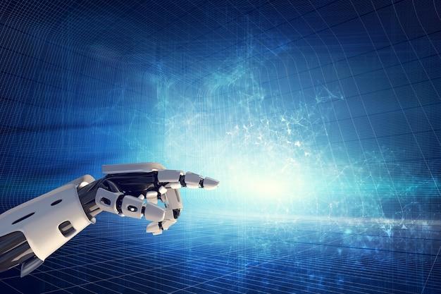 モダンな背景にロボットの手。 Premium写真