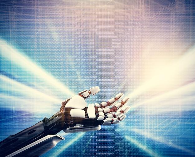 技術の青色の背景にロボットの手。 Premium写真