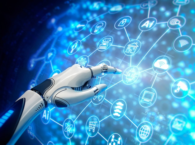Robotic hand with virtual graphic Premium Photo