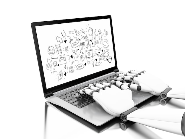 Robotic hands typing on a laptop with education sketch Photo