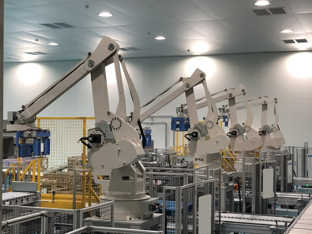 Robots in a car factory Premium Photo