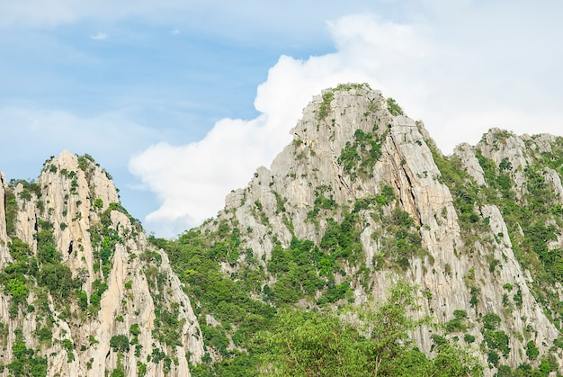 Rock moutain with blue sky in nakhonsawan province, thailand Free Photo