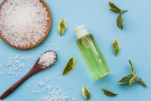 Rock salts; leaves and spray bottles on blue background Free Photo