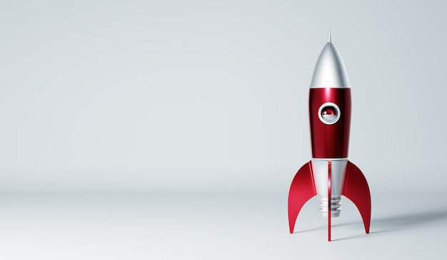 Rocket metallic red and silver antique style isolated on white background. startup creative concept .3d rendering. Premium Photo