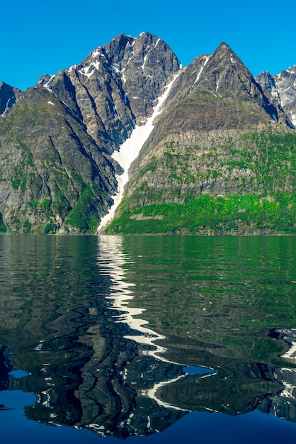 Rocks of the sognefjord, third longest fjord in the world and largest in norway. Premium Photo