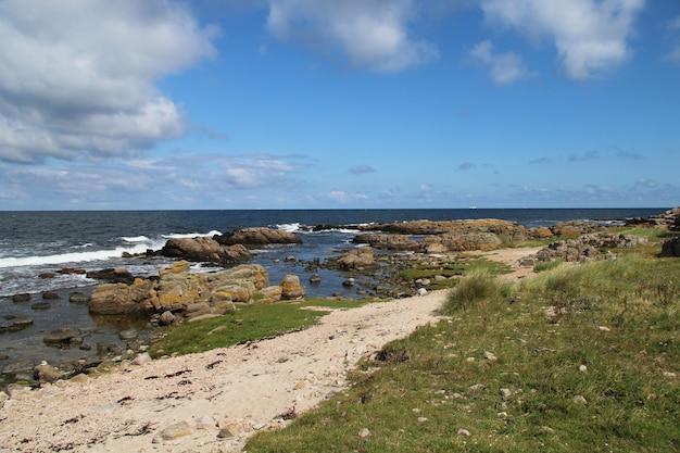 Hammer Odde, Bornholm, 덴마크에서 여름 날에 바위 같은 바다 경치 무료 사진