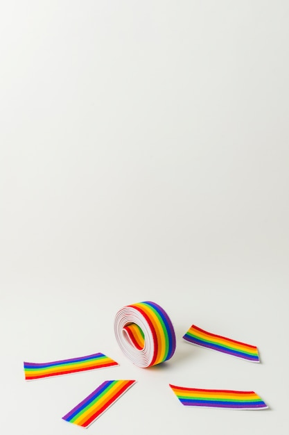 Roll of ribbon and tapes in lgbt colors Free Photo