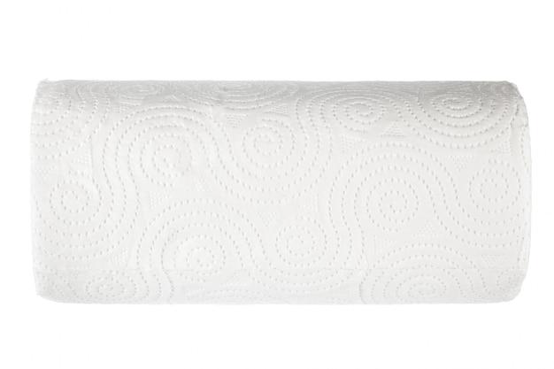 Roll of toilet paper on white Premium Photo